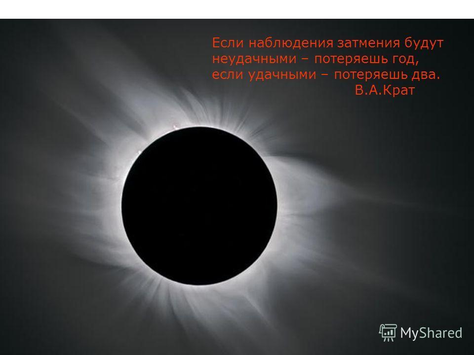 Если наблюдения затмения будут неудачными – потеряешь год, если удачными – потеряешь два. В.А.Крат