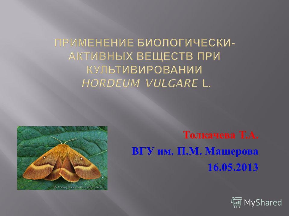Толкачева Т. А. ВГУ им. П. М. Машерова 16.05.2013