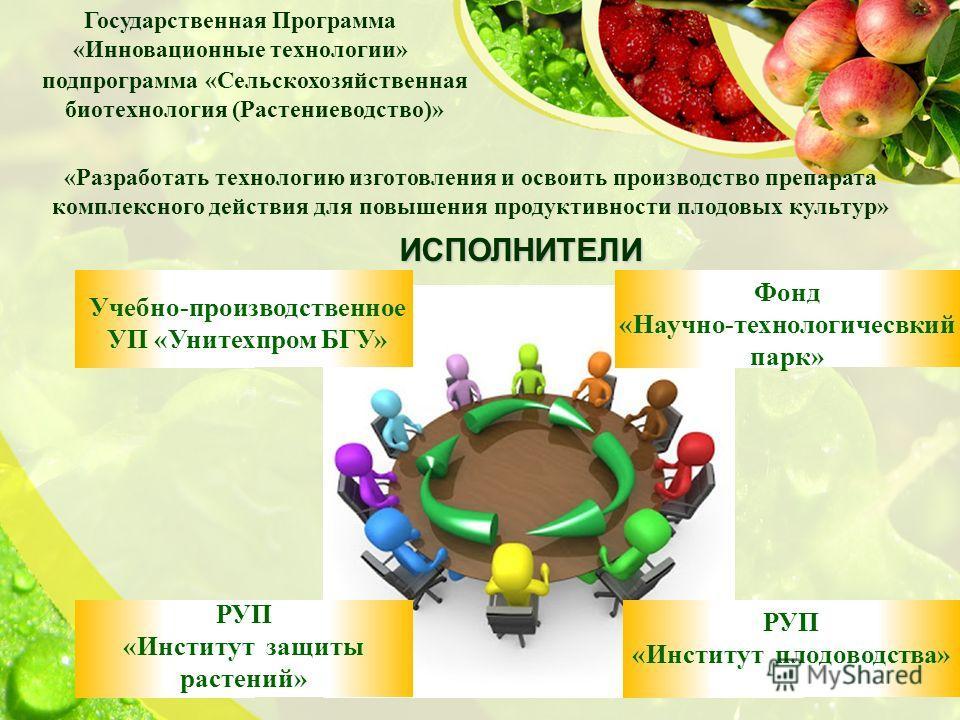подпрограмма «Сельскохозяйственная биотехнология (Растениеводство)» «Разработать технологию изготовления и освоить производство препарата комплексного действия для повышения продуктивности плодовых культур» Государственная Программа «Инновационные те