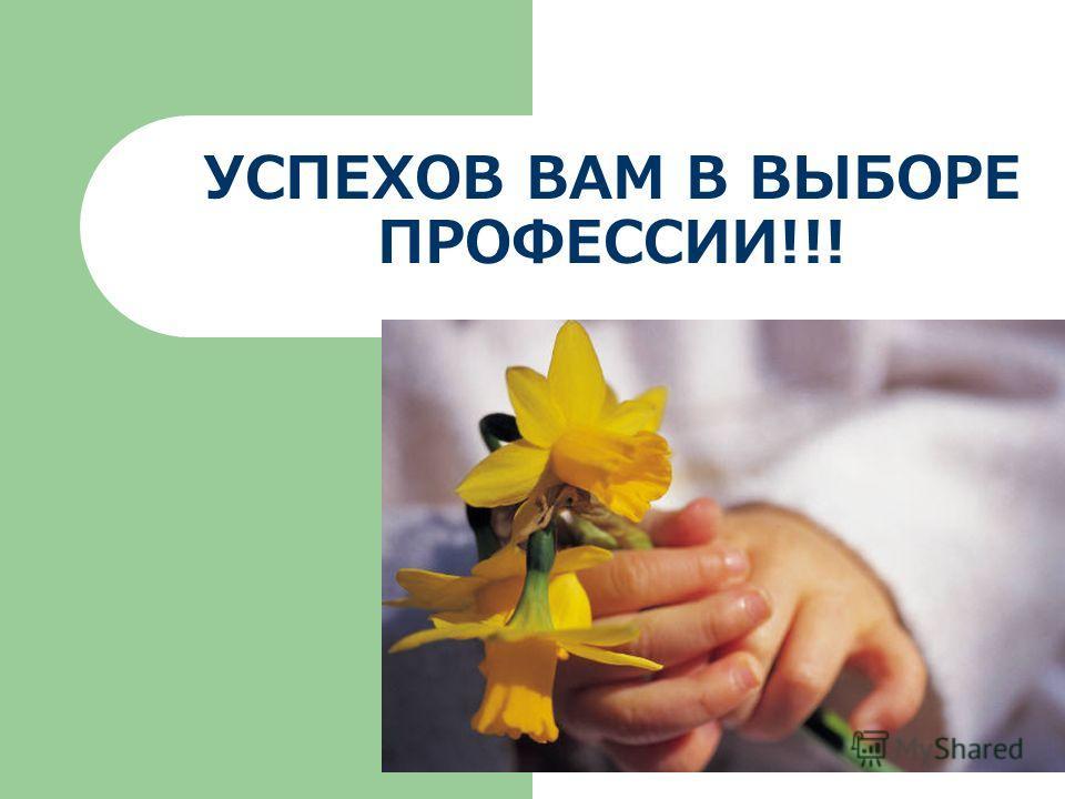 УСПЕХОВ ВАМ В ВЫБОРЕ ПРОФЕССИИ!!!