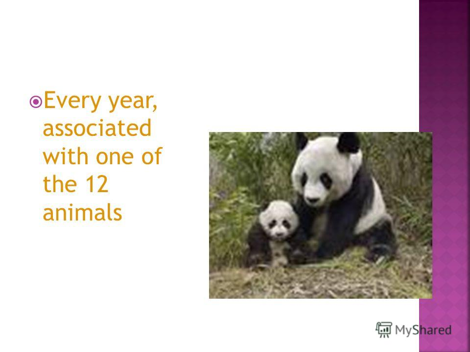 Every year, associated with one of the 12 animals