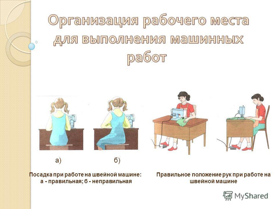Посадка при работе на швейной машине: а - правильная; б - неправильная Правильное положение рук при работе на швейной машине а)б)