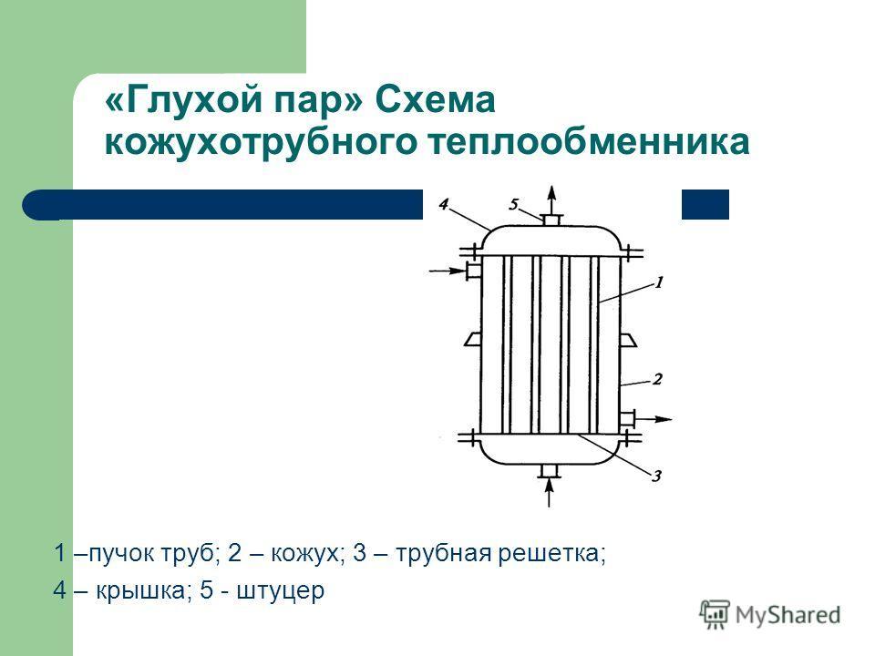 «Глухой пар» Схема кожухотрубного теплообменника 1 –пучок труб; 2 – кожух; 3 – трубная решетка; 4 – крышка; 5 - штуцер