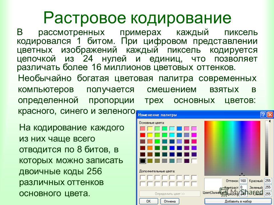 Растровое кодирование В рассмотренных примерах каждый пиксель кодировался 1 битом. При цифровом представлении цветных изображений каждый пиксель кодируется цепочкой из 24 нулей и единиц, что позволяет различать более 16 миллионов цветовых оттенков. Н