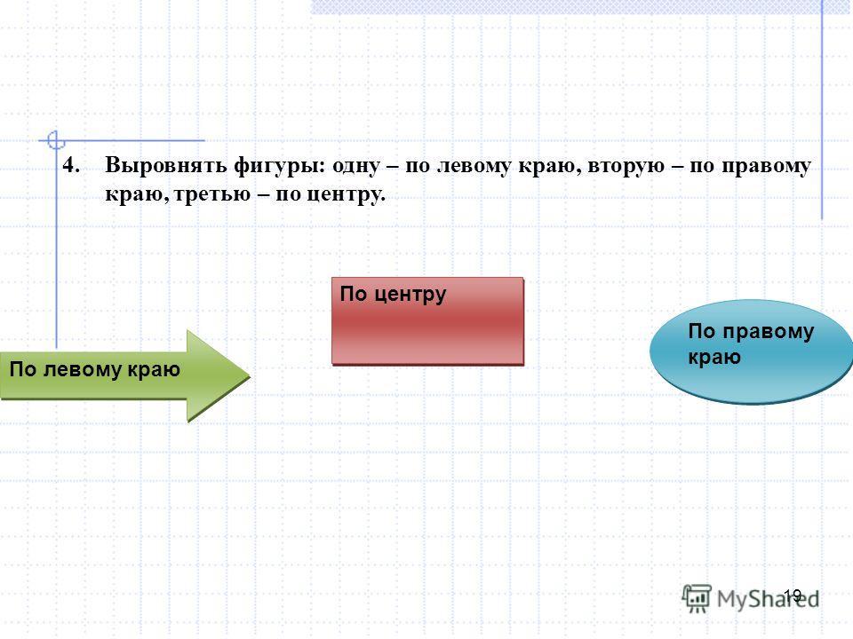 По правому краю 19 4.Выровнять фигуры: одну – по левому краю, вторую – по правому краю, третью – по центру. По центру По левому краю