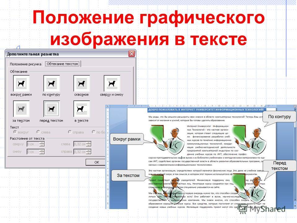 Положение графического изображения в тексте 6