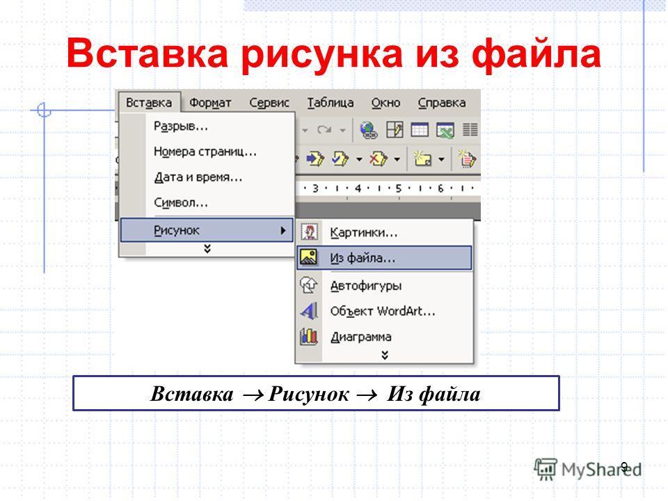 Вставка рисунка из файла 9 Вставка Рисунок Из файла