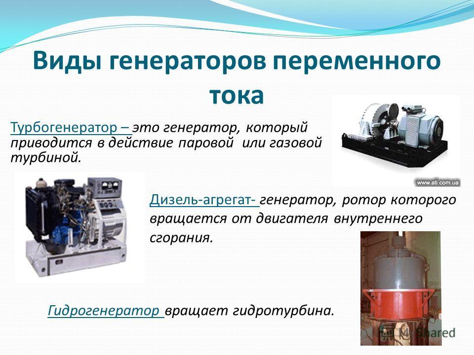 Виды генераторов переменного тока Турбогенератор – это генератор, который приводится в действие паровой или газовой турбиной. Дизель-агрегат- генератор, ротор которого вращается от двигателя внутреннего сгорания. Гидрогенератор вращает гидротурбина.