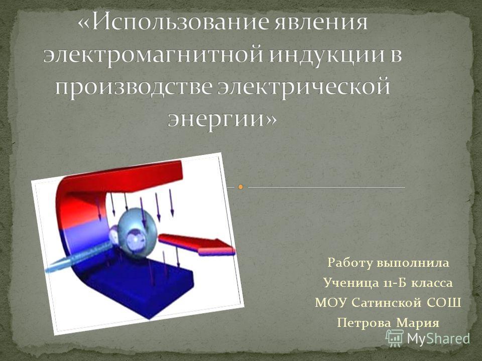 Работу выполнила Ученица 11-Б класса МОУ Сатинской СОШ Петрова Мария