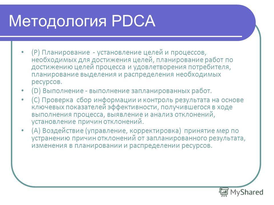 Методология PDCA (P) Планирование - установление целей и процессов, необходимых для достижения целей, планирование работ по достижению целей процесса и удовлетворения потребителя, планирование выделения и распределения необходимых ресурсов. (D) Выпол