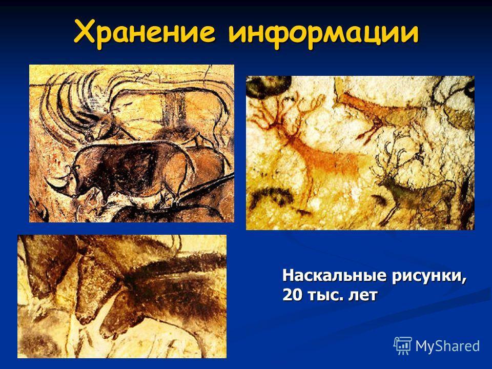 Хранение информации Наскальные рисунки, 20 тыс. лет