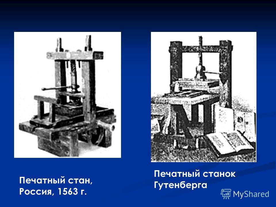 Печатный стан, Россия, 1563 г. Печатный станок Гутенберга