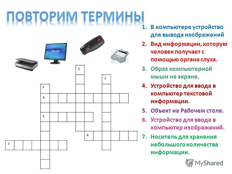 1.В компьютере устройство для вывода изображений 2.Вид информации, которую человек получает с помощью органа слуха. 3.Образ компьютерной мыши на экране. 4.Устройство для ввода в компьютер текстовой информации. 5.Объект на Рабочем столе. 6.Устройство