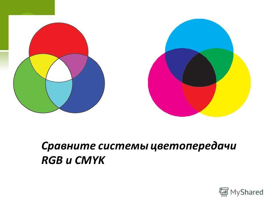 Сравните системы цветопередачи RGB и CMYK