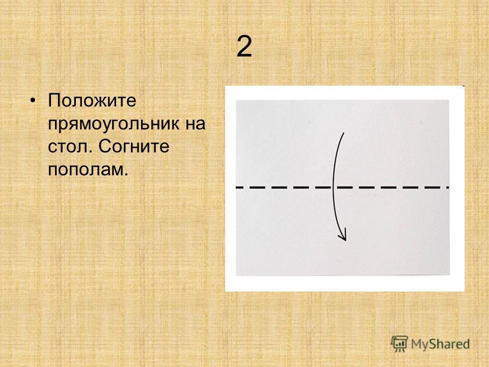2 Положите прямоугольник на стол. Согните пополам.