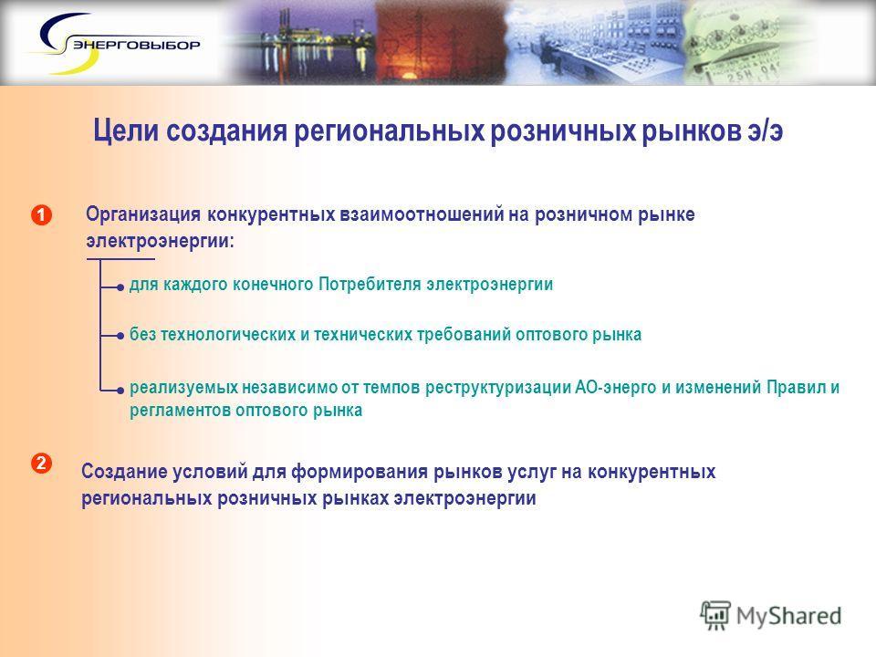 Цели создания региональных розничных рынков э/э Организация конкурентных взаимоотношений на розничном рынке электроэнергии: Создание условий для формирования рынков услуг на конкурентных региональных розничных рынках электроэнергии 1 2 для каждого ко