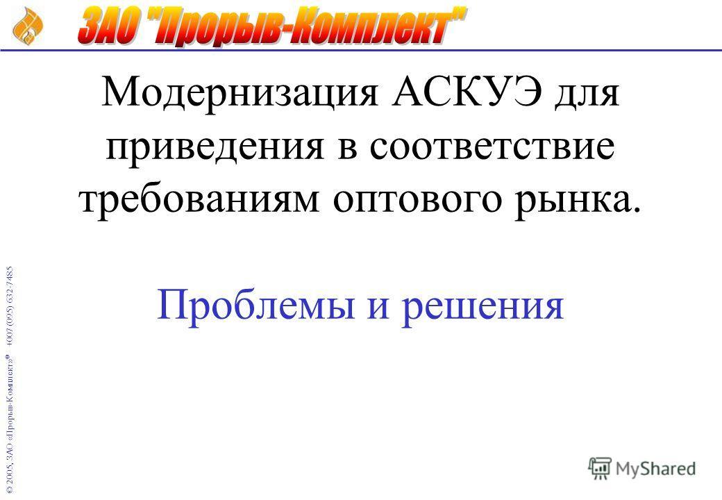 © 2005, ЗАО «Прорыв-Комплект» ® +007 (095) 632-7485 Модернизация АСКУЭ для приведения в соответствие требованиям оптового рынка. Проблемы и решения