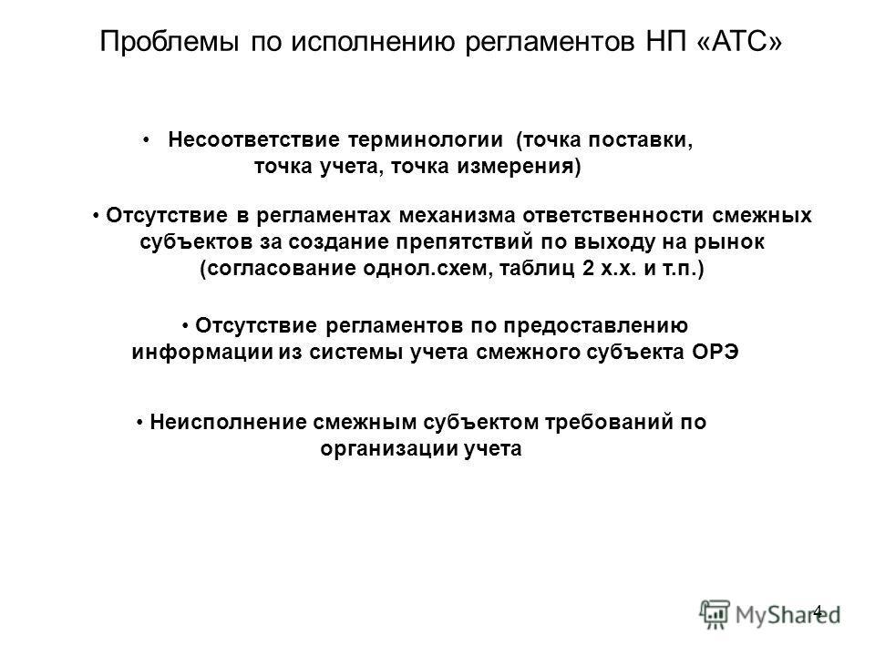 4 Проблемы по исполнению регламентов НП «АТС» Несоответствие терминологии (точка поставки, точка учета, точка измерения) Отсутствие в регламентах механизма ответственности смежных субъектов за создание препятствий по выходу на рынок (согласование одн