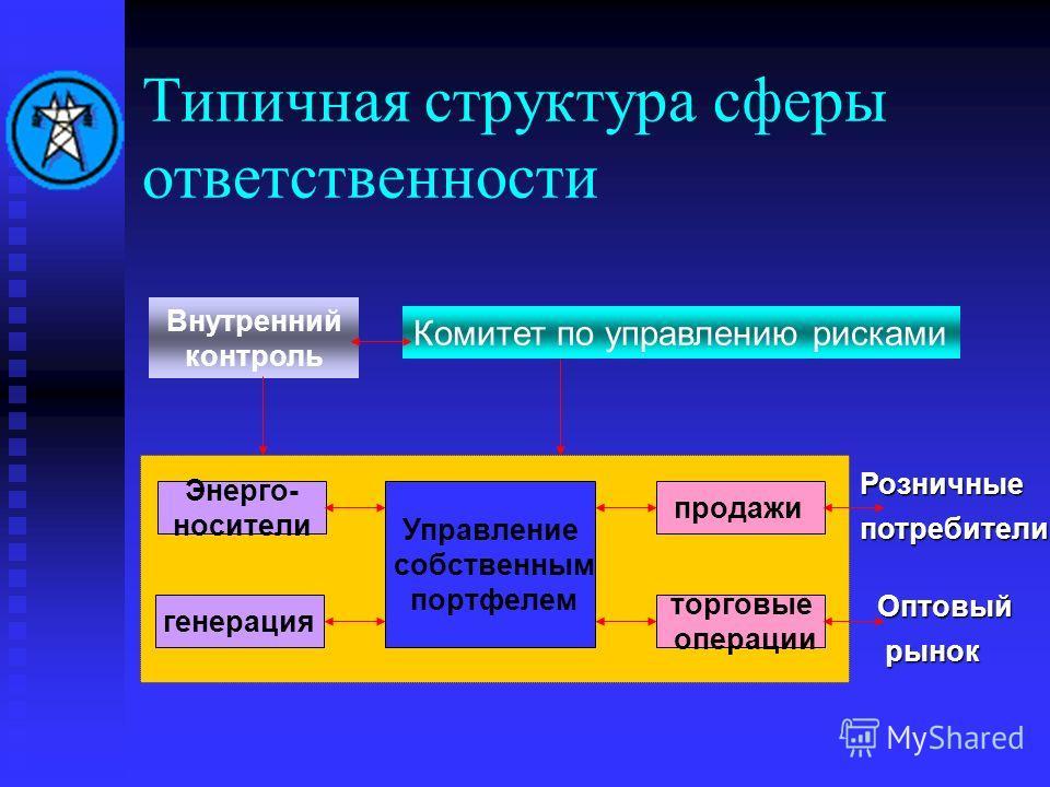 Типичная структура сферы ответственности Энерго- носители генерация торговые операции продажи Управление собственным портфелем Оптовый рынок рынок Розничныепотребители Внутренний контроль Комитет по управлению рисками