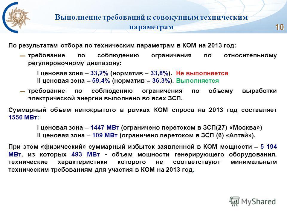 10 Выполнение требований к совокупным техническим параметрам По результатам отбора по техническим параметрам в КОМ на 2013 год: требование по соблюдению ограничения по относительному регулировочному диапазону: I ценовая зона – 33,2% (норматив – 33,8%