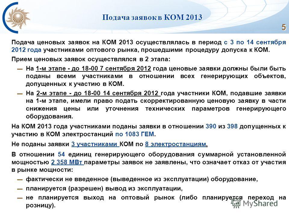 5 Подача заявок в КОМ 2013 Подача ценовых заявок на КОМ 2013 осуществлялась в период с 3 по 14 сентября 2012 года участниками оптового рынка, прошедшими процедуру допуска к КОМ. Прием ценовых заявок осуществлялся в 2 этапа: На 1-м этапе - до 18-00 7