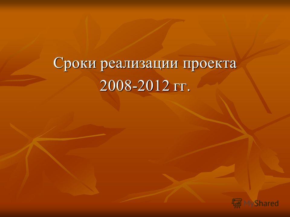 Сроки реализации проекта 2008-2012 гг.