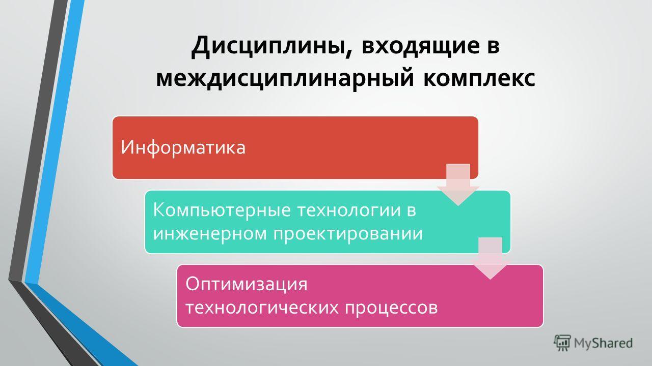 Дисциплины, входящие в междисциплинарный комплекс Информатика Компьютерные технологии в инженерном проектировании Оптимизация технологических процессов