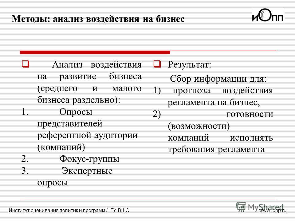 www.iopp.ru Методы: анализ воздействия на бизнес Институт оценивания политик и программ / ГУ ВШЭ Анализ воздействия на развитие бизнеса (среднего и малого бизнеса раздельно): 1. Опросы представителей референтной аудитории (компаний) 2. Фокус-группы 3