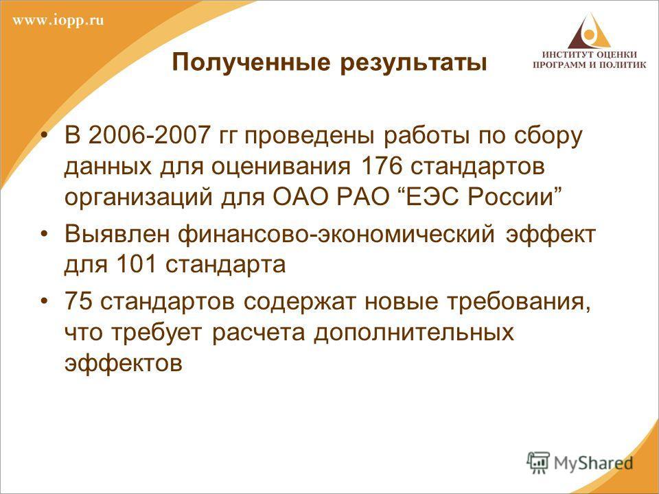 Полученные результаты В 2006-2007 гг проведены работы по сбору данных для оценивания 176 стандартов организаций для ОАО РАО ЕЭС России Выявлен финансово-экономический эффект для 101 стандарта 75 стандартов содержат новые требования, что требует расче