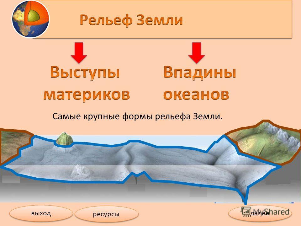 Самые крупные формы рельефа Земли. далее выход ресурсы