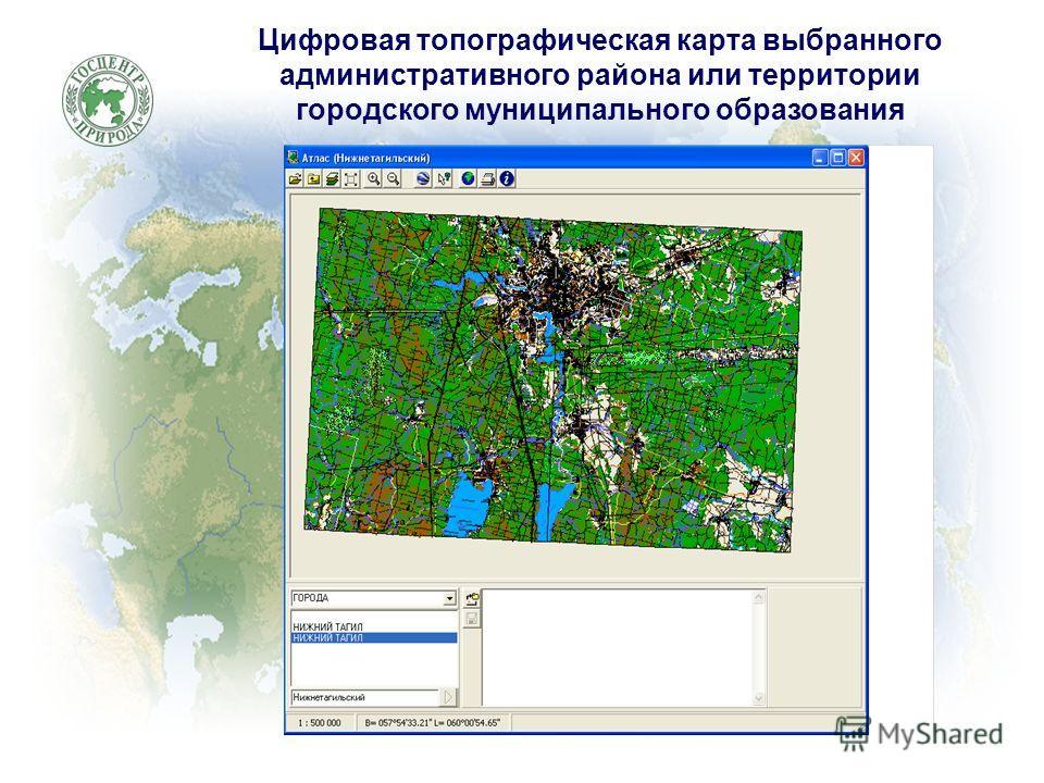 Цифровая топографическая карта выбранного административного района или территории городского муниципального образования