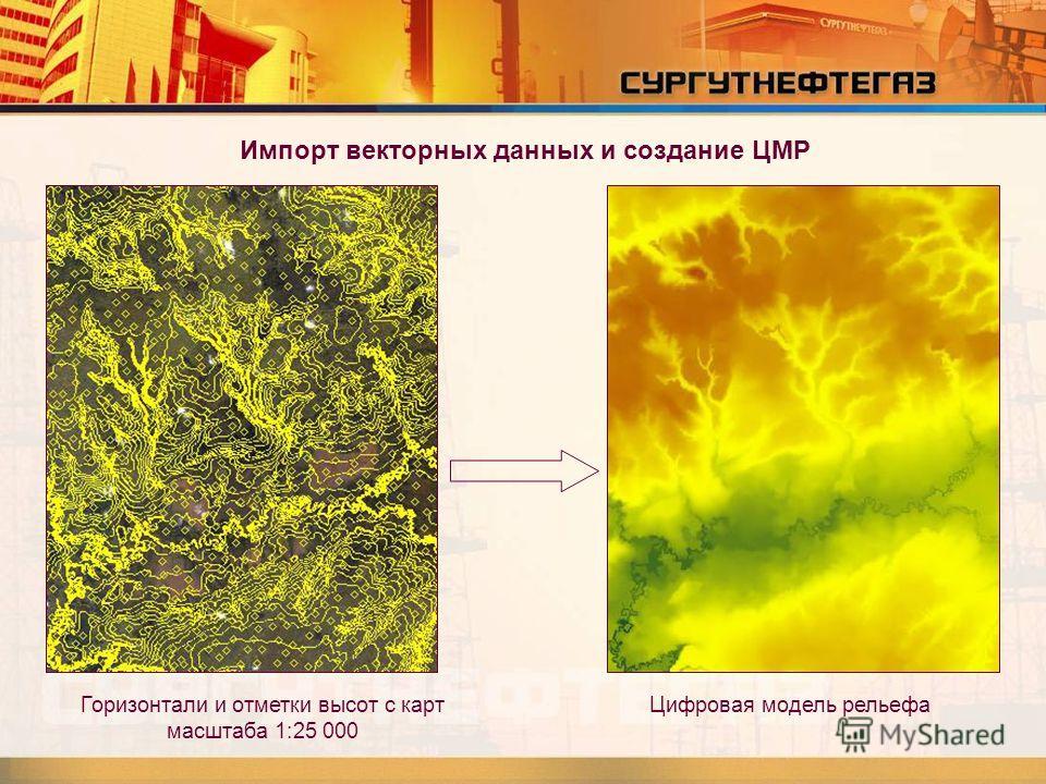 Импорт векторных данных и создание ЦМР Горизонтали и отметки высот с карт масштаба 1:25 000 Цифровая модель рельефа