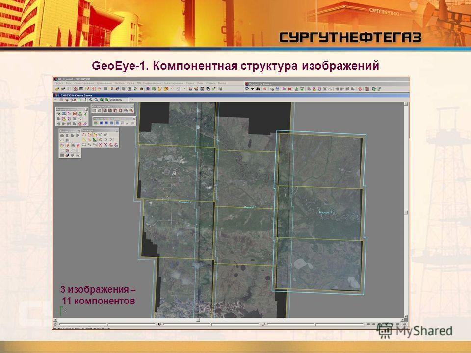 GeoEye-1. Компонентная структура изображений 3 изображения – 11 компонентов