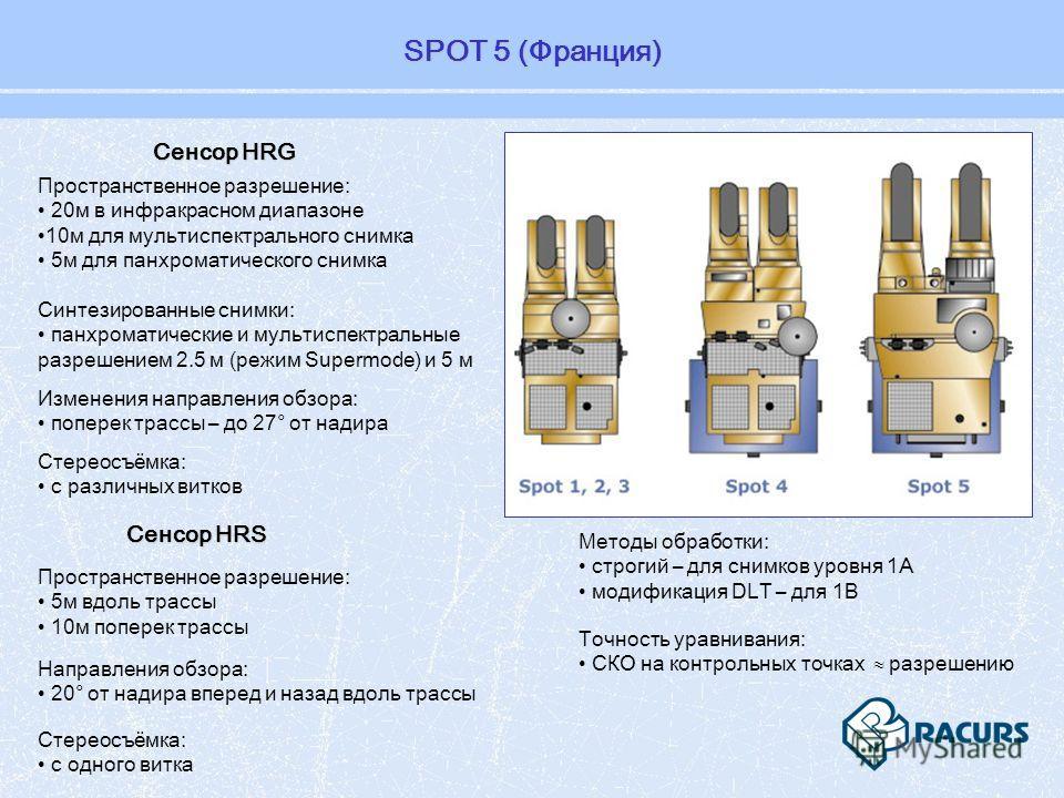 Пространственное разрешение: 20м в инфракрасном диапазоне 10м для мультиспектрального снимка 5м для панхроматического снимка Синтезированные снимки: панхроматические и мультиспектральные разрешением 2.5 м (режим Supermode) и 5 м Методы обработки: стр