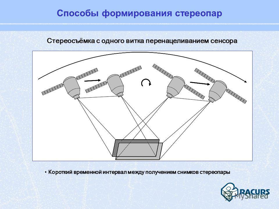 Способы формирования стереопар Стереосъёмка с одного витка перенацеливанием сенсора Короткий временной интервал между получением снимков стереопары