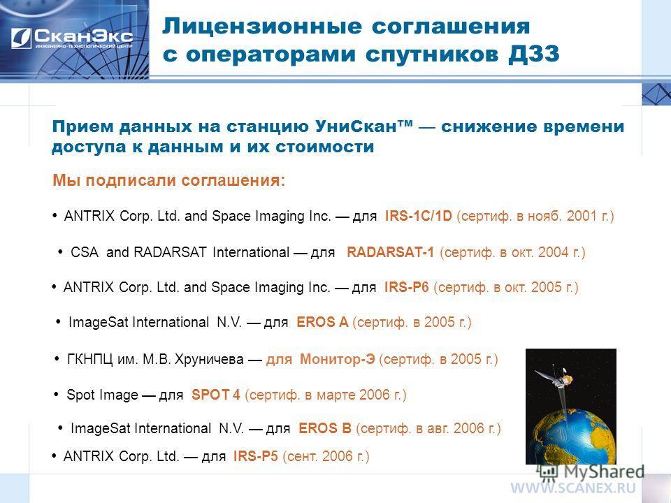 Лицензионные соглашения с операторами спутников ДЗЗ Мы подписали соглашения: ANTRIX Corp. Ltd. and Space Imaging Inc. для IRS-1C/1D (сертиф. в нояб. 2001 г.) ANTRIX Corp. Ltd. and Space Imaging Inc. для IRS-P6 (сертиф. в окт. 2005 г.) CSA and RADARSA