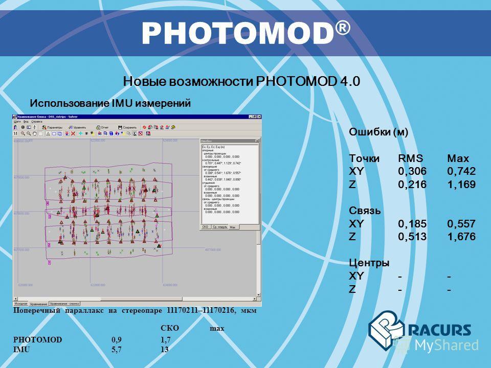 PHOTOMOD ® Новые возможности PHOTOMOD 4.0 Использование IMU измерений Ошибки (м) ТочкиRMSMax XY0,306 0,742 Z 0,216 1,169 Связь XY0,185 0,557 Z 0,513 1,676 Центры XY -- Z- - Поперечный параллакс на стереопаре 11170211–11170216, мкм СКО max PHOTOMOD0,9