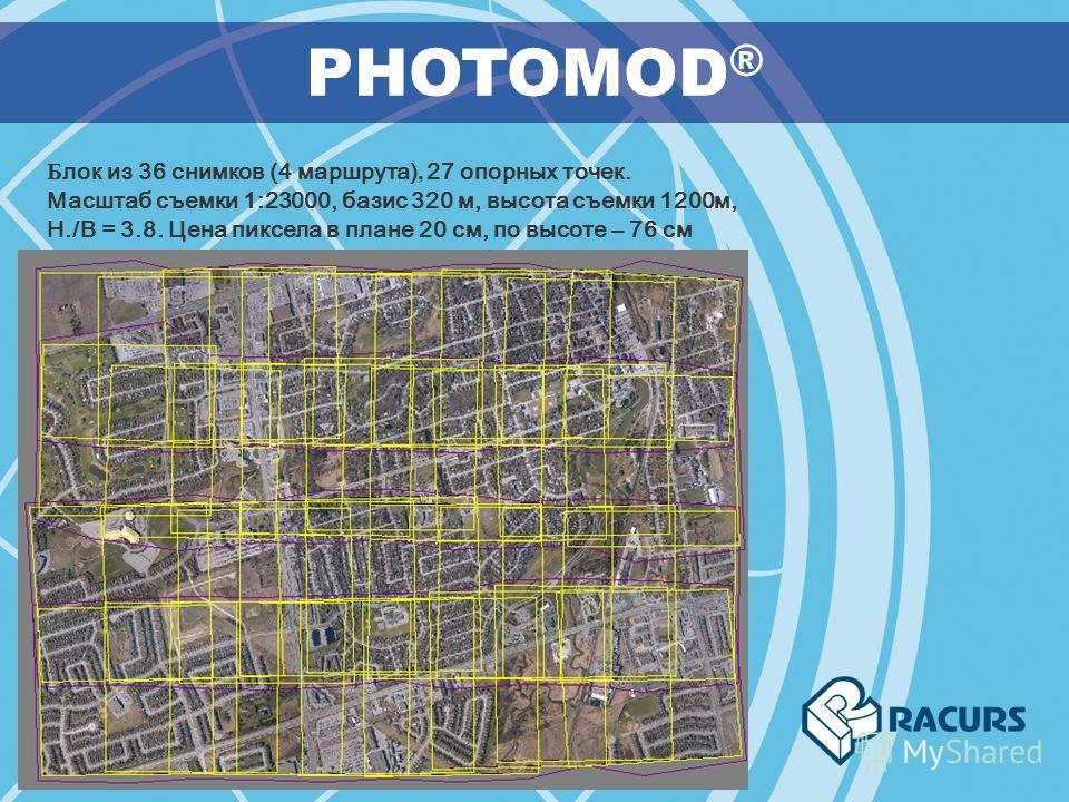 PHOTOMOD ® Б лок из 36 снимков (4 маршрута), 27 опорных точек. Масштаб съемки 1:23000, базис 320 м, высота съемки 1200м, H./B = 3.8. Цена пиксела в плане 20 см, по высоте – 76 см