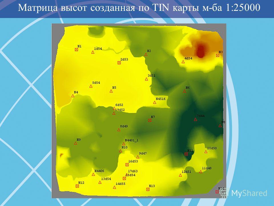 Матрица высот созданная по TIN карты м-ба 1:25000