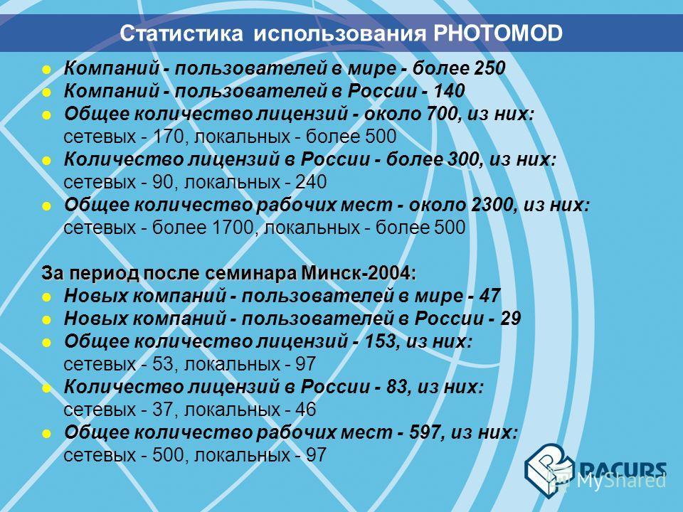 l Компаний - пользователей в мире - более 250 l Компаний - пользователей в России - 140 l Общее количество лицензий - около 700, из них: сетевых - 170, локальных - более 500 l Количество лицензий в России - более 300, из них: сетевых - 90, локальных