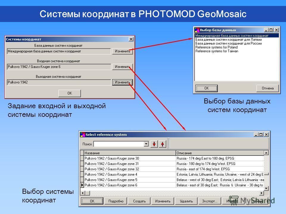 Системы координат в PHOTOMOD GeoMosaic Задание входной и выходной системы координат Выбор базы данных систем координат Выбор системы координат