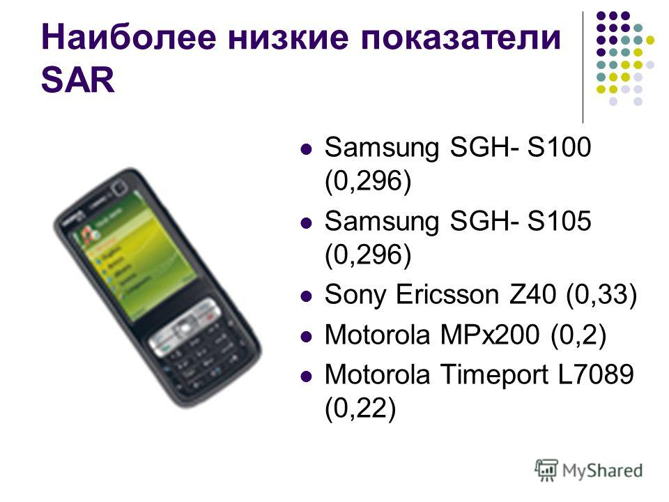 Наиболее низкие показатели SAR Samsung SGH- S100 (0,296) Samsung SGH- S105 (0,296) Sony Ericsson Z40 (0,33) Motorola MPx200 (0,2) Motorola Timeport L7089 (0,22)
