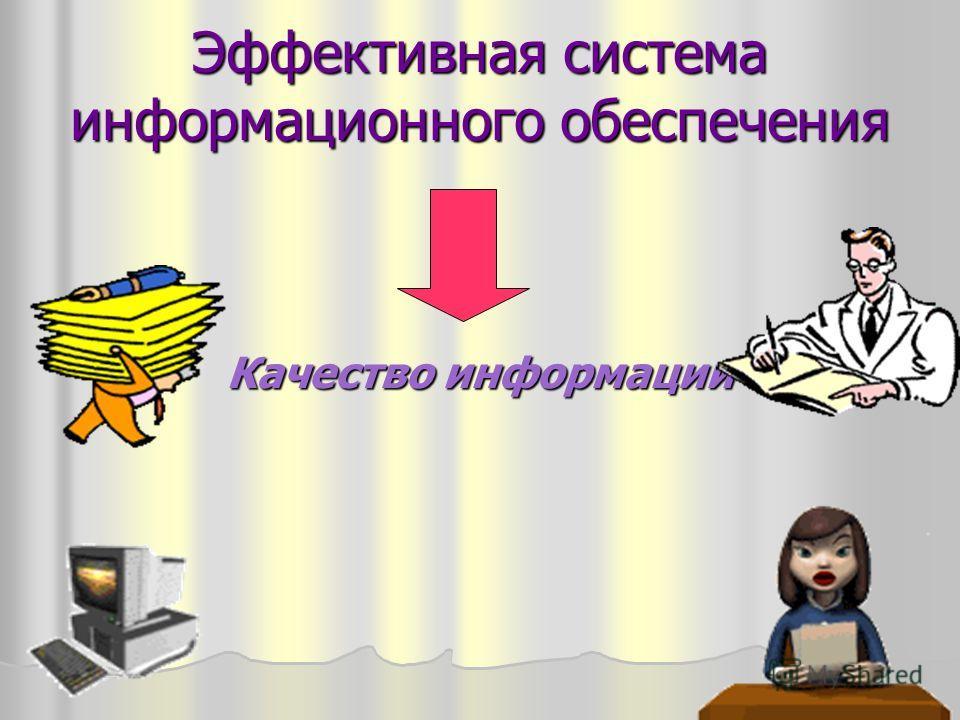 Эффективная система информационного обеспечения Качество информации