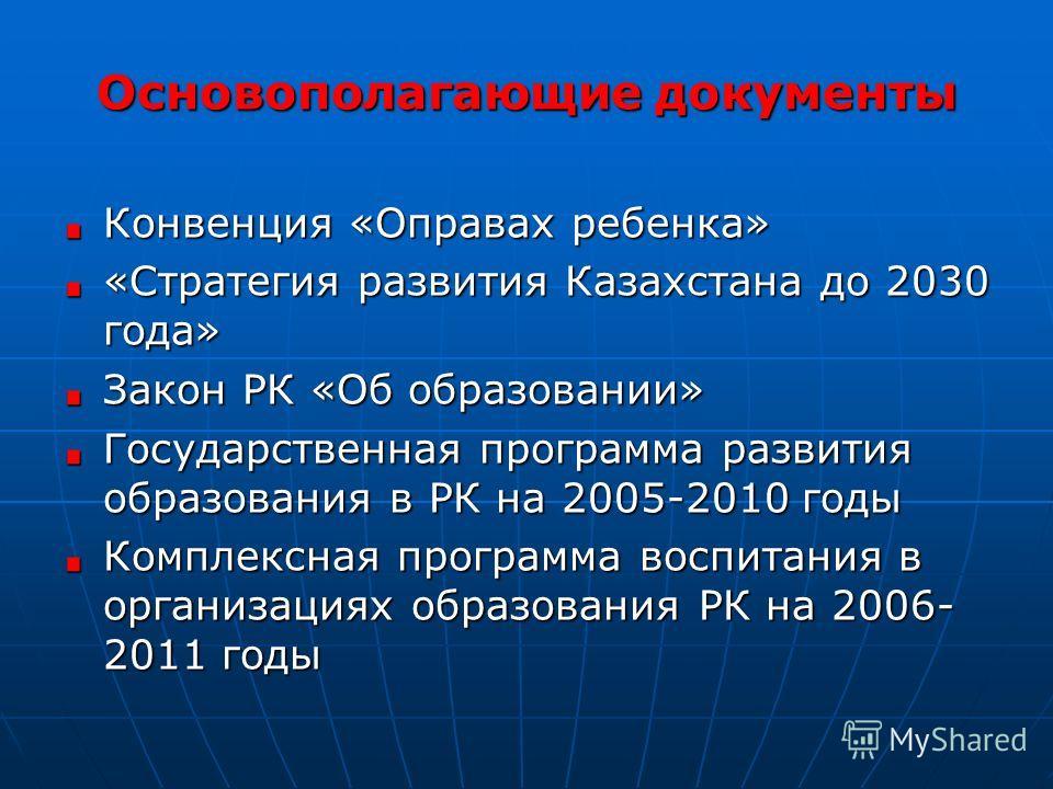 Основополагающие документы Конвенция «Оправах ребенка» «Стратегия развития Казахстана до 2030 года» Закон РК «Об образовании» Государственная программа развития образования в РК на 2005-2010 годы Комплексная программа воспитания в организациях образо