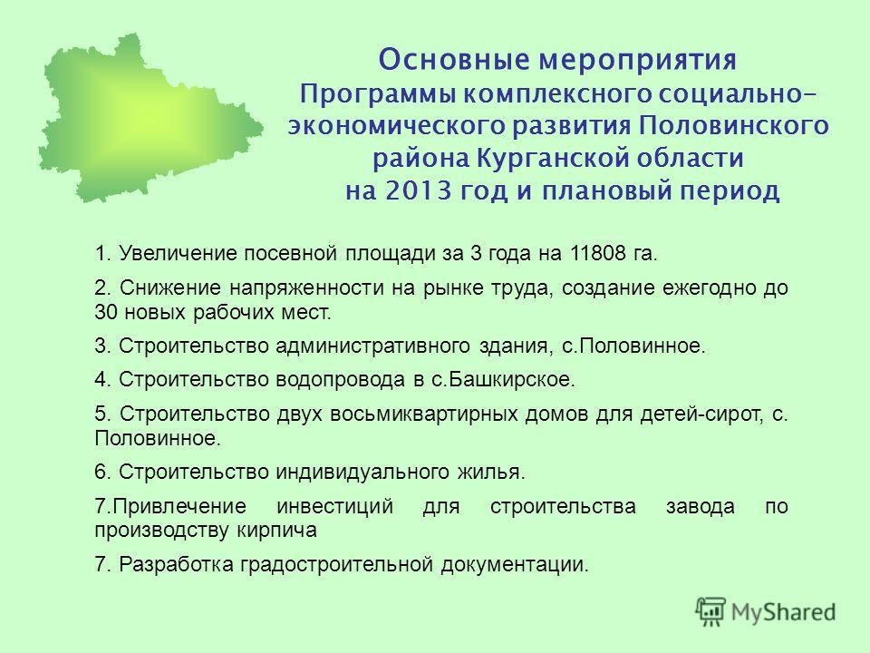 Основные мероприятия Программы комплексного социально- экономического развития Половинского района Курганской области на 2013 год и плановый период 1. Увеличение посевной площади за 3 года на 11808 га. 2. Снижение напряженности на рынке труда, создан