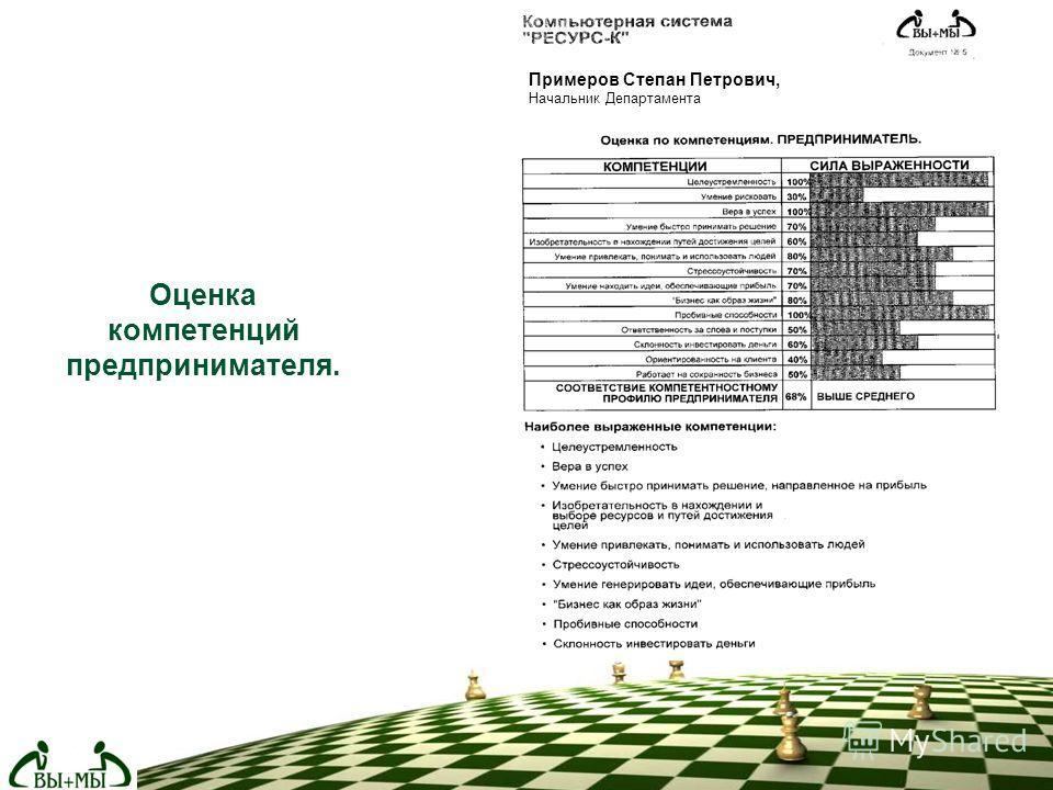 Оценка компетенций предпринимателя. Примеров Степан Петрович, Начальник Департамента