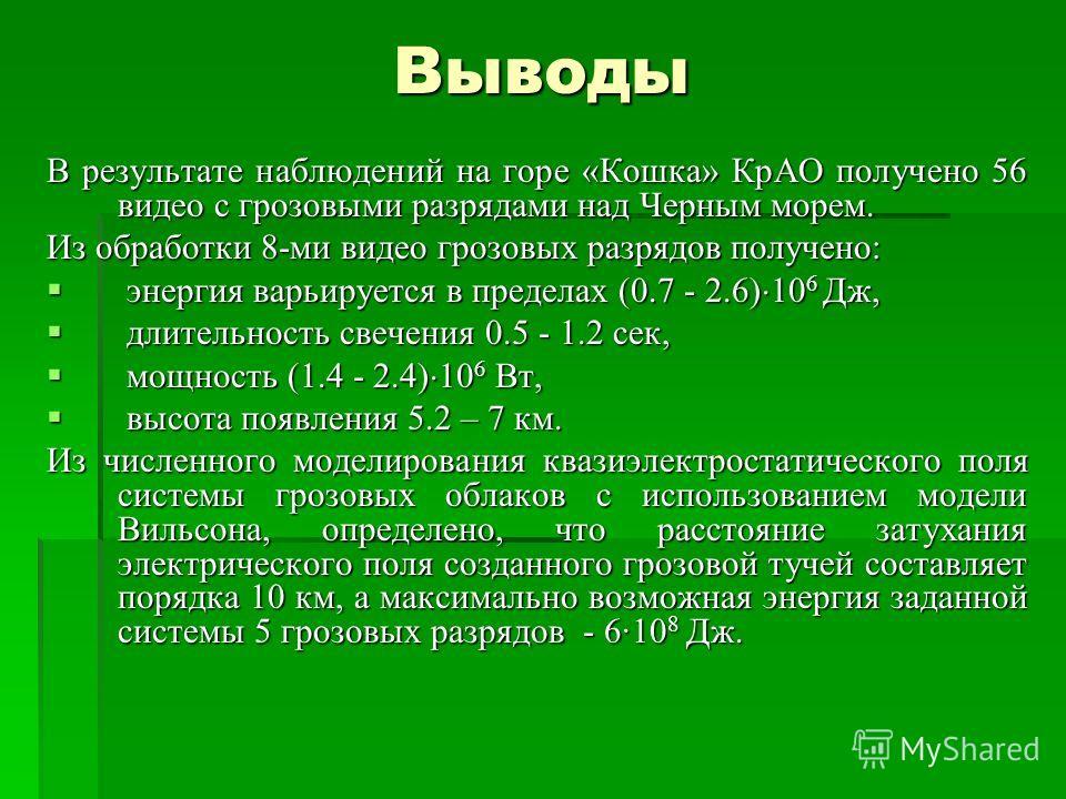 Выводы В результате наблюдений на горе «Кошка» КрАО получено 56 видео с грозовыми разрядами над Черным морем. Из обработки 8-ми видео грозовых разрядов получено: энергия варьируется в пределах (0.7 - 2.6) 10 6 Дж, энергия варьируется в пределах (0.7