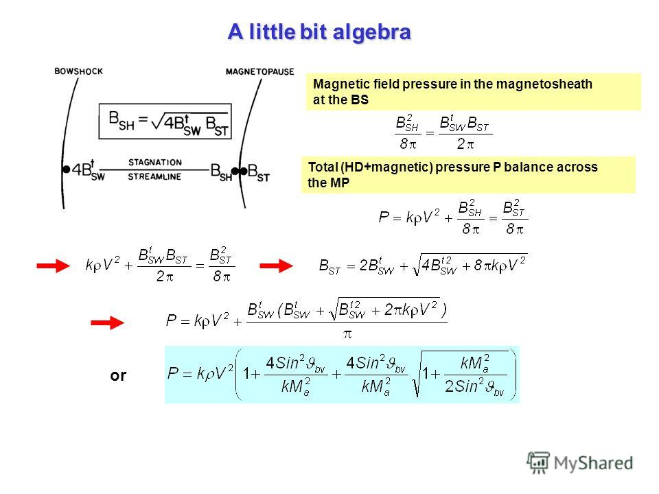 A little bit algebra Magnetic field pressure in the magnetosheath at the BS Total (HD+magnetic) pressure P balance across the MP or