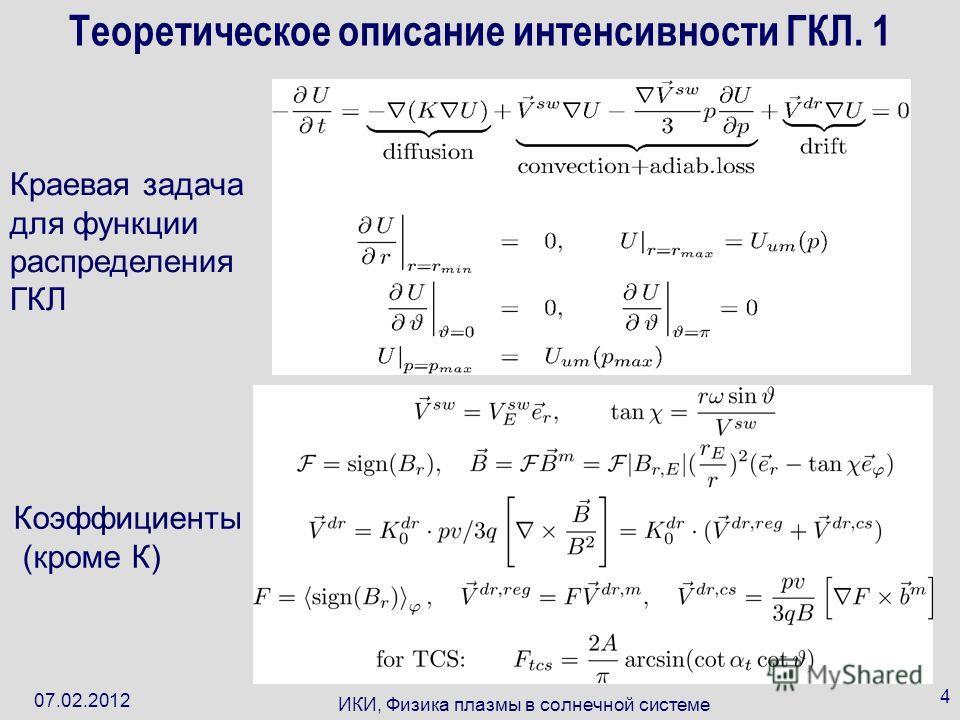 07.02.2012 ИКИ, Физика плазмы в солнечной системе 4 Теоретическое описание интенсивности ГКЛ. 1 Краевая задача для функции распределения ГКЛ Коэффициенты (кроме К)