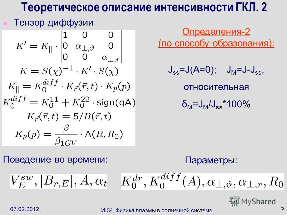 07.02.2012 ИКИ, Физика плазмы в солнечной системе 5 Теоретическое описание интенсивности ГКЛ. 2 Тензор диффузии Поведение во времени: Параметры: Определения-2 (по способу образования): J ss =J(A=0); J M =J-J ss, относительная δ M =J M /J ss *100%